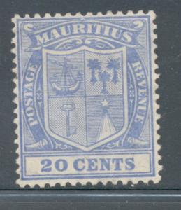 Mauritius Sc 177 1922 20c ultra Seal of Colony stamp mint