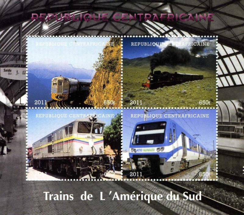 C.A.R 2011 South America Trains Sheet (4) Perforated mnh.vf
