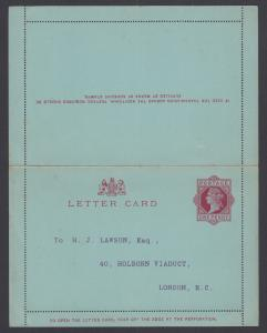 Great Britain H&G A1b mint 1892 1p Queen Victoria Letter Card, F-VF