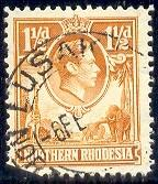 King George Vl, Giraffe, Elephant, North Rhodesia SC#30 used