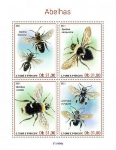 St Thomas - 2021 Bees, Blunthorn, Bumblebee - 4 Stamp Sheet - ST210215a
