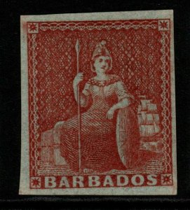 BARBADOS SG5 1855 4d BROWNISH RED MTD MINT