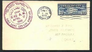 USA 1926 first flight cover Salt Lake city to Los Angeles..................81026