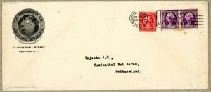 USA 599, 721 PAIR TIED TO CUSTOMS BROKER ADVERTISING COVER 1937 TO SWITZERLAND