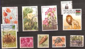LOT Nr 130 KENYA  BRITISH COLONIES 10 STAMPS OLD AND MODERN