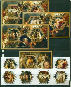 TCHAD CHAD 10 SHEETS RUBENS ART PAINTINGS COMPLETE COLLECTION