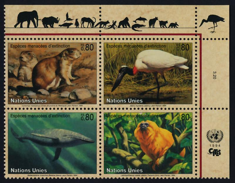 United Nations - Geneva 249a TR Block MNH Blue Whale, Prarie Dog, Bird, Jabiru