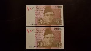 2 Banknotes Replacement  Consecutive numbers 10 Rupees 2017 Pakistan R58 UNC