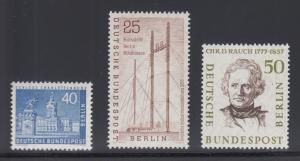 Berlin Sc 9N131/9N156 MNH. 1956-1959 issues, 3 different, fresh & VF