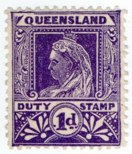 (I.B) Australia - Queensland Revenue : Stamp Duty 1d (Widow's Weeds)