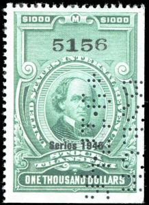 Revenue $1000.00 Bright Green Series 1945 RD208 Perfin Initial CV $500.00