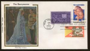1982 New York The Barrymore Acting Family Colorano Silk Cachet First Day Cover