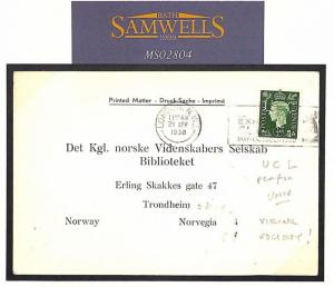 MS2804 1938 GB London NORWAY Trondheim Printed Matter VIKING Society