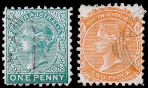 South Australia Scott 64, 65 (1876) Used F-VF M