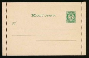 NORWAY Mi. K1 II POSTAL STATIONERY LETTER CARD AFSENDER FLAP 53MM