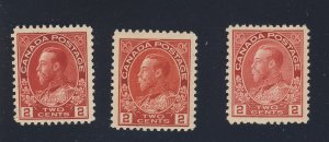 3x Canada Admiral 2c MH Stamps #106-2c shades Guide Value = $75.00