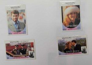 O) 1986 TUVALU, SPECIMEN,  VAITUPU, ROYAL WEDDING, ANDREW, SARAH FERGUSON, CHARL