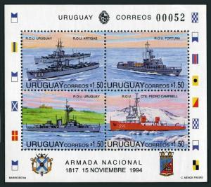 Uruguay 1551,MNH.Michel Bl.66. Navy Day 1994.ROU Uruguay,Furtuna,Artigas,