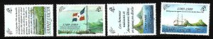 St Lucia-Sc#942-5-unused NH set-Flags-Ships-French Revolution Bicentenary--1989-