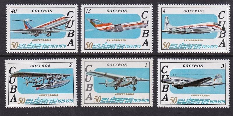 Cuba  #2283-2288   MNH  1979 Cubana airlines.  various aircraft