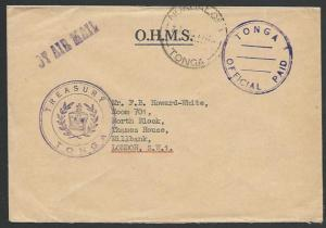 TONGA 1969 OHMS cover to UK ,OFFICIAL PAID pmk.............................27492