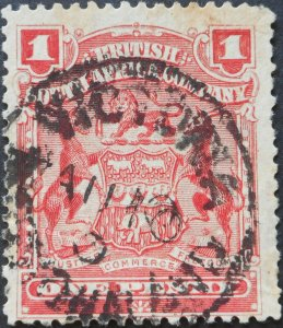 Rhodesia 1898 1d with VICTORIA with missing digit in year (SC) postmark