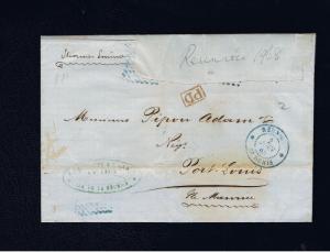 MAURITIUS 1868 ENTIRE PER STEAMER ERMINE