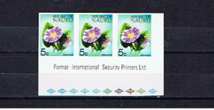 NAURU 1973 5c DEFINITIVE IMPERFORATE STRIP OF THREE