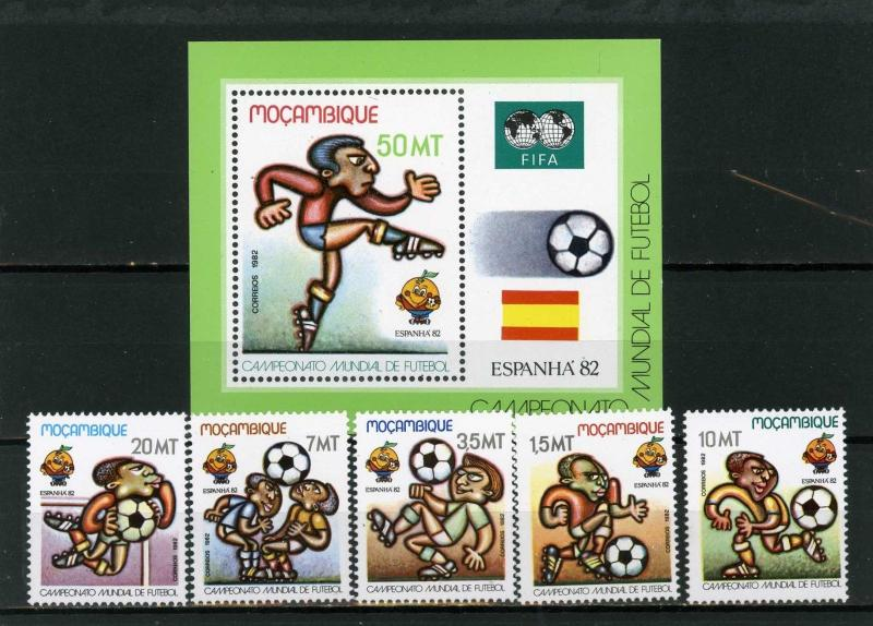 MOZAMBIQUE 1982 SOCCER WORLD CUP SPAIN SET OF 5 STAMPS & S/S MNH