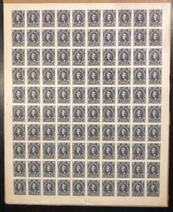 HONDURAS 1907 MEDINA ISSUE Sc 121 FULL SHEET OF 100 BLACK IMPERF PLATE PROOF FVF