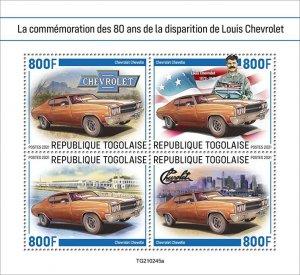 TOGO - 2021 - Louis Chevrolet - Perf 4v Sheet - Mint Never Hinged