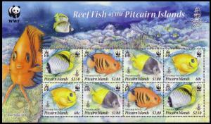 Pitcairn WWF Coral Reef Fish Sheetlet of 2 sets SG#MS811 MI#805-808 SC#705a-d