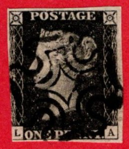 GBR SC #1 U (L,A) 1840 Queen Victoria 3+ margins w/black MC CV $360.00