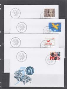 Switzerland Mi 1746/1777, 2001 issues, 5 complete sets in singles on 9 FDCs, VF