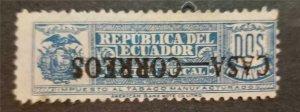 ECUADOR Scot RA19a 1924 Postal Tax Stamp INVERTED OVERPRINT Error T2308