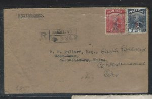 SARAWAK  (P3008B)  1948 ROYAL CYPHER 6C+15C REG KUCHING VIA SINGAPORE TO UK THEN