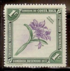 Costa Rica 1937 Purple Guaria Orchid SC#184 MNH-OG