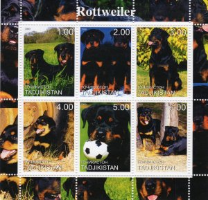 Tajikistan 2000 DOGS - ROTTWEILER  Sheetlet (6)  MNH
