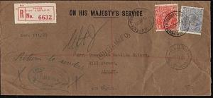 AUSTRALIA 1929 OHMS Reg OS Perfins : Perth to Albany - unclaimed .........18250W