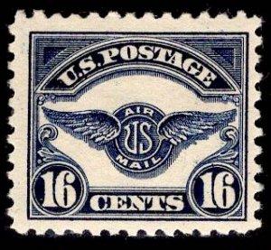 US Stamp #C5 16c Dark Blue Air Emblem MINT Hinged SCV $60