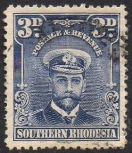 Southern Rhodesia 1924 3d blue used