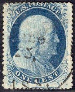 US Stamp Scott #24 1c Blue SCV $37.50