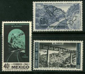 MEXICO 919, C258-C259, OPENING OF THE Chihuahua-Pacific Railroad MINT, NH. F-VF.