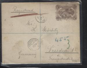 SEYCHELLES COVER (P3105B) 1907 30C PSE FRENCH MAIL BOAT CANCEL REG TO GERMANY
