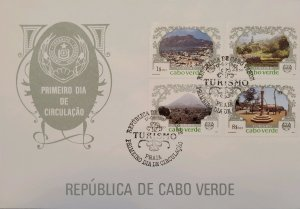 O) 1987 CAPE VERDE, LANDSCAPE, TOURISM - BAY MINDELO, HILL COUNTRY, MOUNTAIN PEA