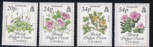 British Indian Ocean Territory # 141-144, Christmas Flowers, NH, 1/2 Cat.