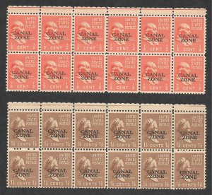Doyle's_Stamps: 1939 MNH Canal Zone Blocks of 12 Each --  Scott #118** & #119**