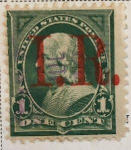R154 Franklin 1c, Type B Red IR, 1898, hinged, Vic's Stamp Stash