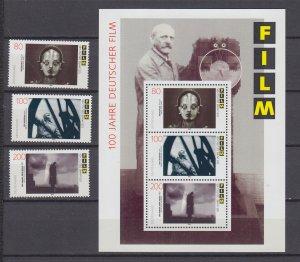 Z4117, 1995 germany set + s/s mnh #1906a-c films movies