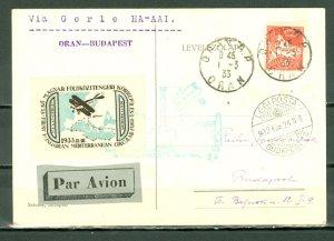 ALGERIA 1933 HISTORIC FLIGHT ORAN-BUDAPEST CARD..NICE VIGNETTE .